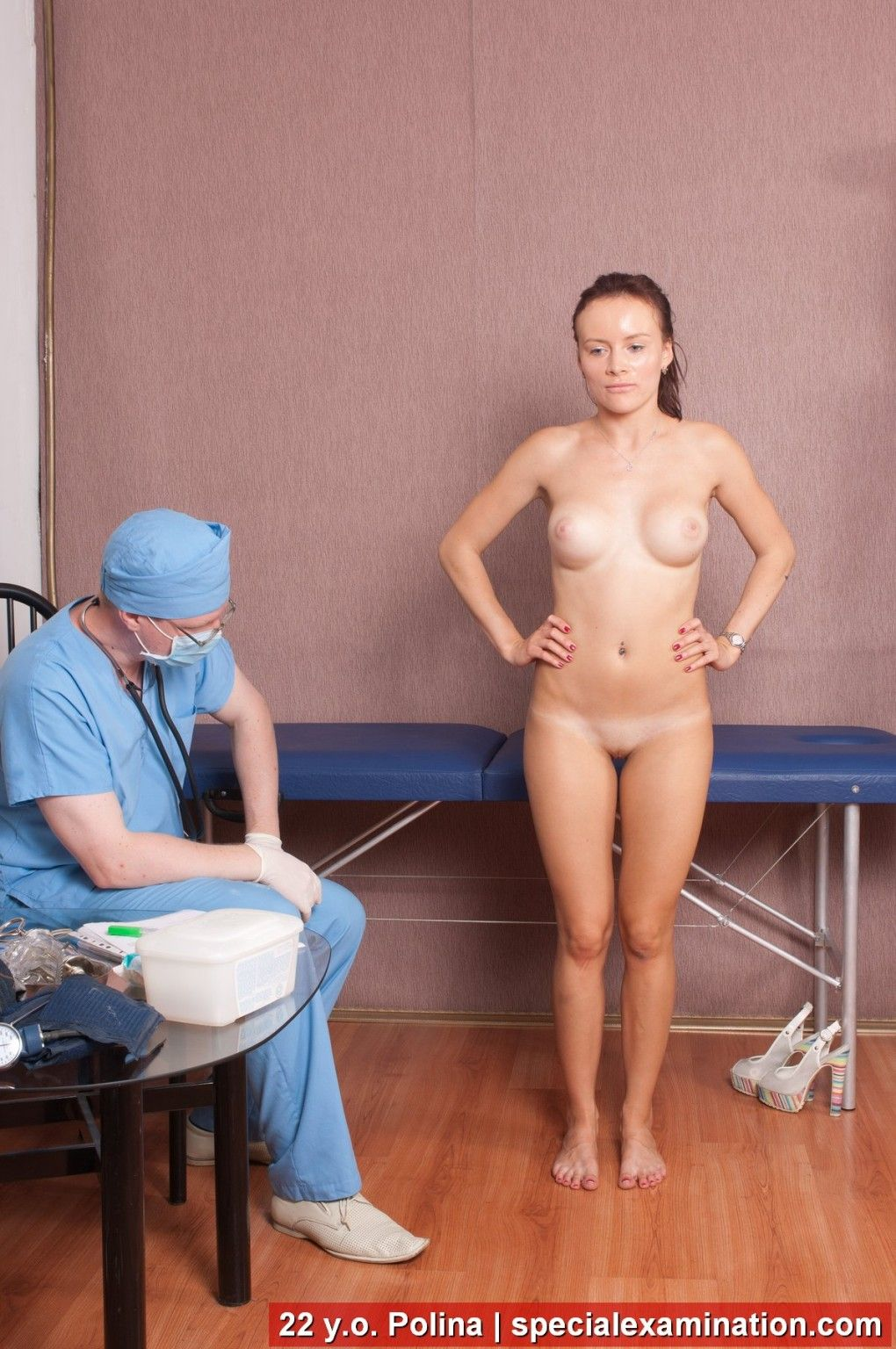 Doctor inspects all holes of his sub yielding