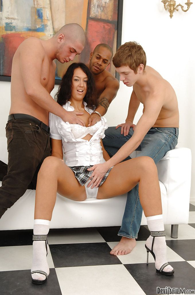 Ache vixen enjoys a groupsex with triple stallions and gains her anal opening creampied