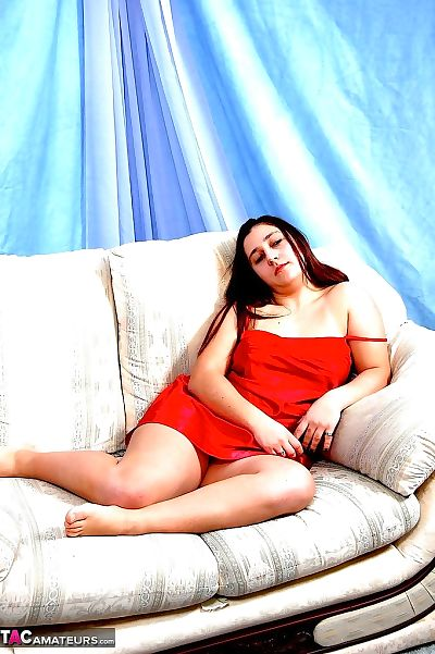 Overweight first timer KimberlyScott takes off her red underware on the sofa