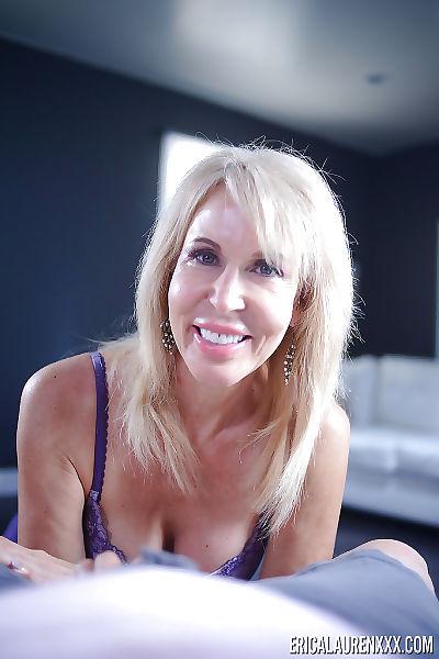 Grandpa blonde pornstar Erica Lauren jerking cock until  conclusion