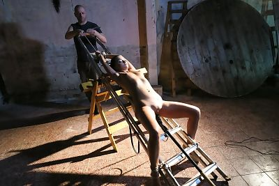 Daphne Klyde is restrained and egg gagged whereas obligatory masturbation