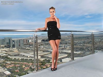 Solo model Alexis Adams gets undressed undressed on rooftop prior to getting in pool