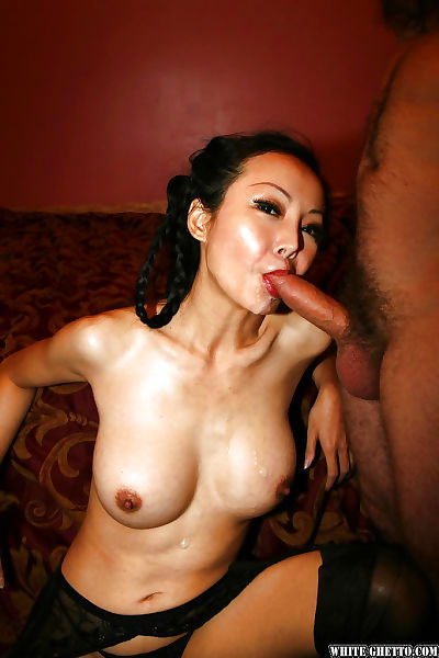 Chinese mature Ange Venus enjoys threesome sex in her nylons