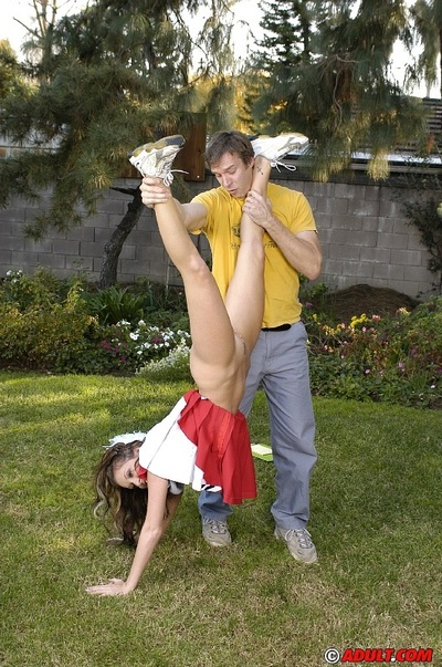Sexually excited cheerleader gets tricked keen to cocksucking with ball licking outdoor