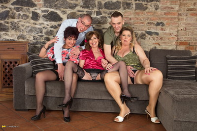 Three horny housewives enjoy with two naughty guys