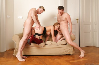Kristine Crystalis has some double penetration fun with hung lads