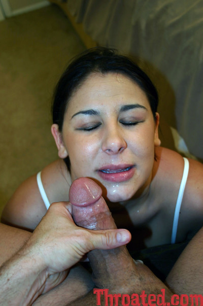 Brown hair tina marsolis with cum on her pretty face