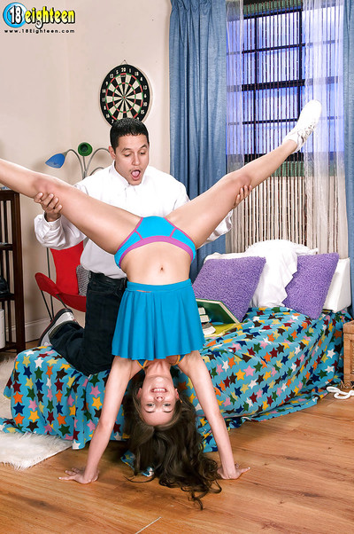 Teen cheerleader real life banging scene with little Sophia Sutra