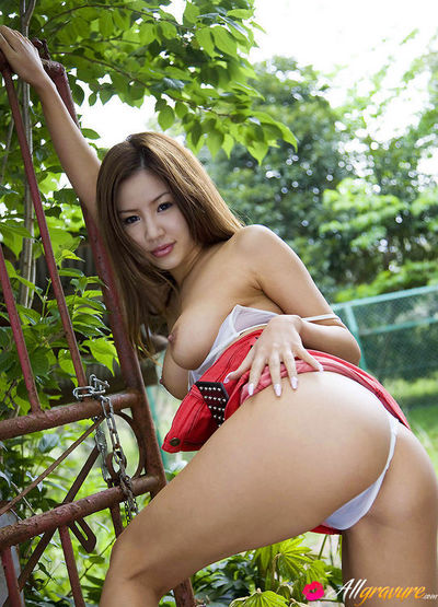 Kaera Uehara Oriental takes jugs out of red boob coverer out of the home
