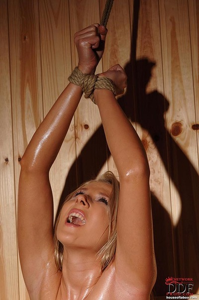 Rope bound blonde fetish babe Viktoria Diamond sexual wrestling in sauna