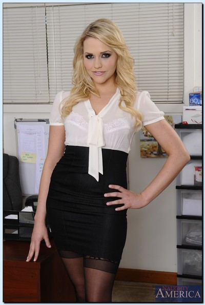 Loveable office babe Mia Malkova getting as was born and fingering her pussy