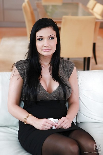 Big titted pornstar Aletta Ocean is posing as mother gave birth and has wild sex