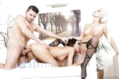 FFM threesome sex scene with pornstars Blanche Bradburry and Eveline Neill