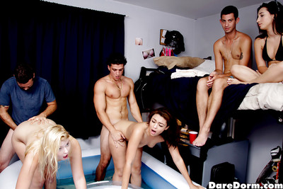 Coed floozy Melissa May and friends engage in sexy groupsex doing in dorm