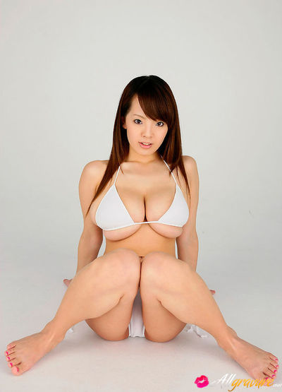 Hitomi Tanaka Asian huge cans in white underwear poses fucking provocative