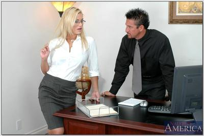 Alluring office princess in glasses Shyla Stylez getting drilled at work