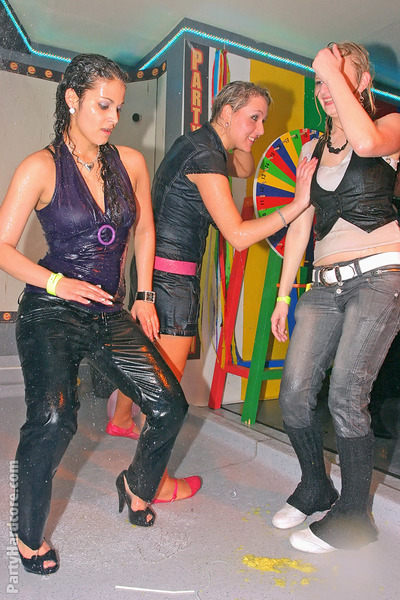 Naughty young gals getting wet and horny at the night club party