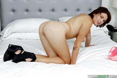 Slender young doll Marina Visconti shows off her amazing mambos