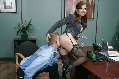 Big boobed secretary Britney Amber taking facial cumshot from co-worker