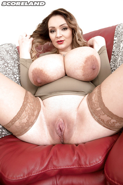 European fatty Micky Bells revealing massive juggs before wanking