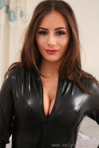 Hot busty chick in a pvc outfit