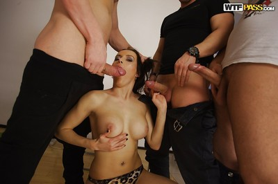Infant exhibit Olivia Catwoman gets used roughly in gangbang scene