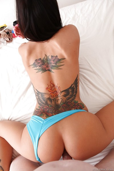 Tattooed knockout gets fucked and jizzed over her panties
