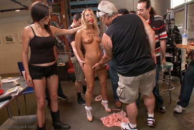 Public disgrace  golden-haired tease paraded around with a fist is her pussy ass poundin