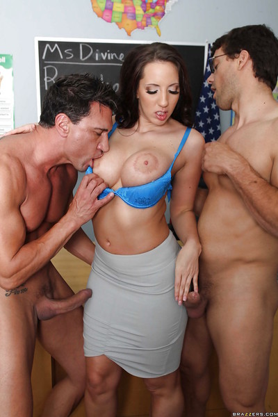 Busty educator Kelly Divine seduces her students for hot groupsex