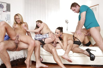 Wild groupsex smoking with Mea Melone, Victoria Daniels and Laura Crystal