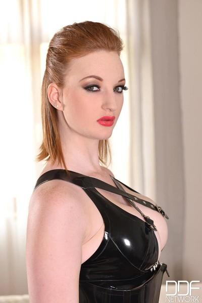 Hot busty redhead in latex