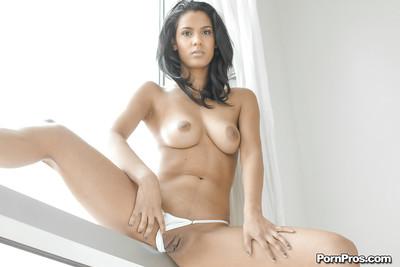 Big tit brunette Karmen Bella showing off and spreading her shaved cunt