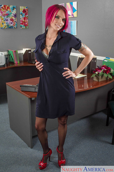 Babe Anna Bell Peaks, a hot milf getting dirty in office touching her major mangos