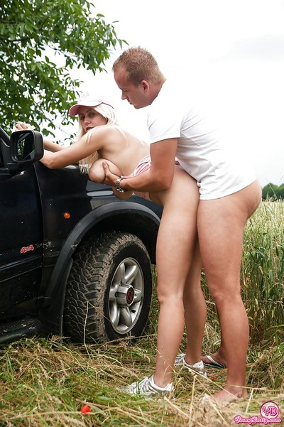 Chippy blonde gets shagged outdoor for a cumshot on her massive melons