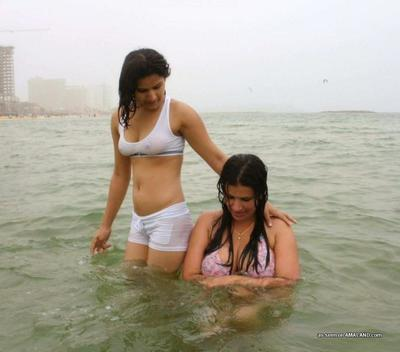 Indian girlfriends with fine tits take a dip in Tel Aviv