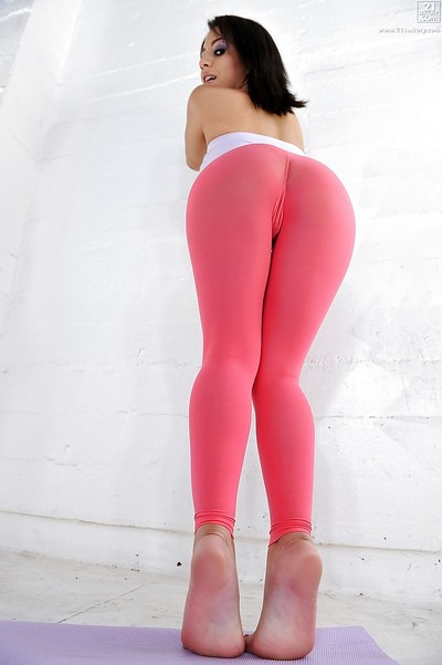 Latina hottie Liv Aguilera goes down yoga pants down around ankles and feet