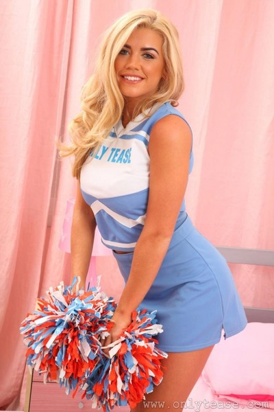 Meaty blonde strips off her uniform