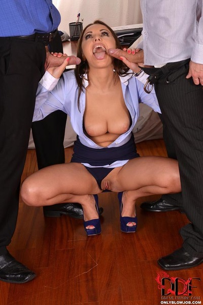 Hot Assistant Dominica Phoenix Sucks and Jacks Off Two Cocks