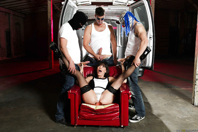 Mature slut Dana DeRmond gangbanged by group of masked dick-holders