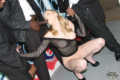 Eager white cunt cant wait to get gangbanged by 8 black men