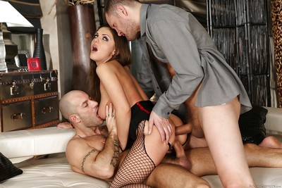 Petite chick Dominica Phoenix taking hardcore threeway DP in fishnets