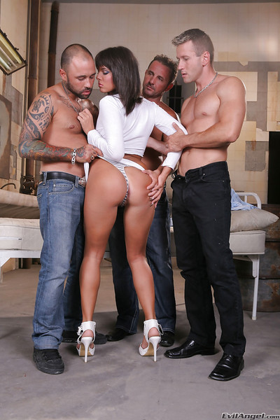 Slutty cum-hungry floozy enjoys hard gangbang with two fucking one