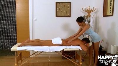 Asian brunette hair Miyuki Son is doing an amazing massage to her clients ramrod