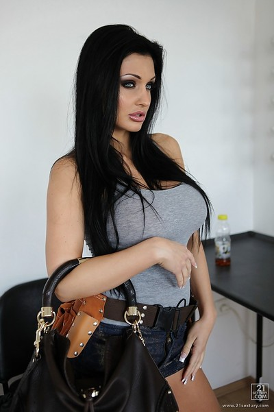 Aletta Ocean demonstrates her European immense tits and long legs
