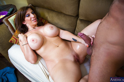 Brunette babe with big tits Sara is a tremendous blowjob giver