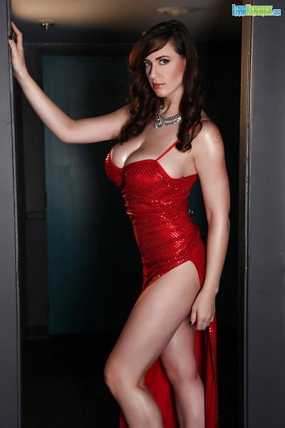 Leggy babe Lana Kedrick modelling fully covered in suit for centerfold