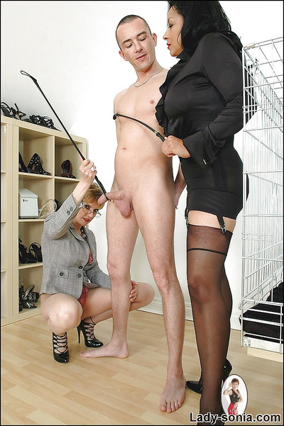 Lusty full-grown ladies in stockings are into kinky CFNM action with a lucky man