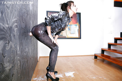 Lusty fetish sweetheart has some messy fully dressed getting joy with a fake snake and jizz
