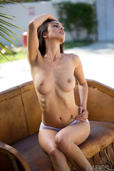 Karmen going outside and stripping down in the yard