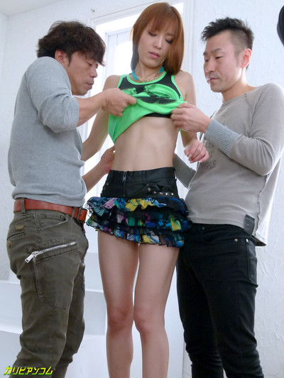 Erotic japanese two men plus one female hardcore bang